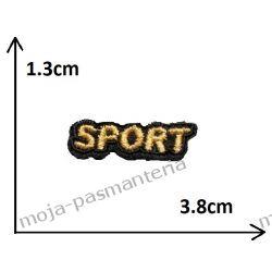Naprasowanka - mały napis SPORT (złoty) - 13x38mm Aplikacje