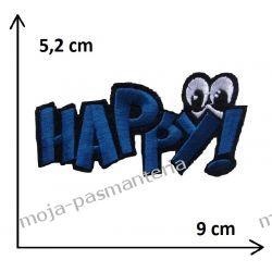 Naprasowanka -NAPIS HAPPY - 52x90mm Aplikacje