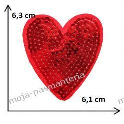 Naprasowanka - SERCE czerwone z cekinami 6,3cm x6,1 cm  Aplikacje