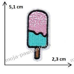 APLIKACJA, NAPRASOWANKA - LÓD NA PATYKU - 5,1cm x 2,3cm Rękodzieło