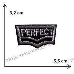 APLIKACJA NAPRASOWANKA - NAPIS PERFECT- 3,2x5,5cm Rękodzieło