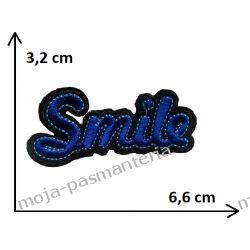 APLIKACJA NAPRASOWANKA TERMO - NAPIS SMILE- 3,2x6,6cm Rękodzieło