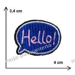 Naprasowanka - napis HELLO! CHMURKA 3,4x4cm Szycie i dziewiarstwo
