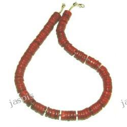 Koral czerwony plastry - naszyjnik