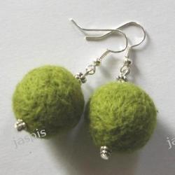 Kolczyki z filcu - zielone