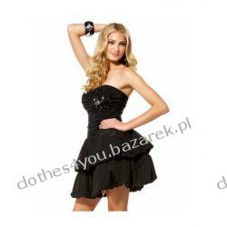 Czarna mini gorsetowa sukienka z ozdobami
