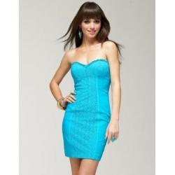 Gorsetowa bawełniana sukienka BEBE w kolorze aqua