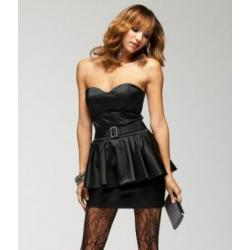 Czarna mini gorsetowa sukienka z baskinską