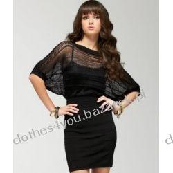Sukienka BEBE Pointelle dress czarna z ażurem XS