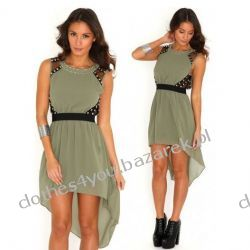 Szyfonowa sukienka z ćwiekami w kolorze khaki 38