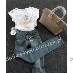 Zestaw: jeansy + koszulka + bransoletka Shamballa