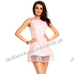 Trapezowa mini różowa sukienka