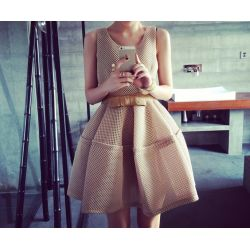 Lux beżowa sukienka z pianki 36/S studniówka SALE