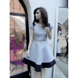 Lux szara sukienka z pianki 38/M studniówka SALE