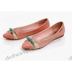 Lux baleriny z kokardą AXEL róż eko skóra buty