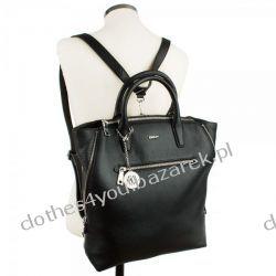 Luxusowa duża torebka DKNY czarna skóra new