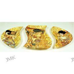 Talerz dekoracyjny 3 częściowy G. Klimt The Kiss Adele Oczekiwanie Osobowe