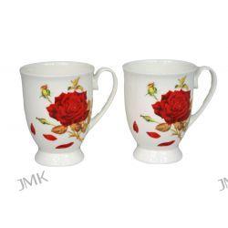 2 porcelanowe kubki w sercu - Róże Filiżanki