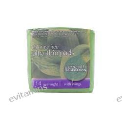 Seventh Generation, Ultra Thin Pads, Chlorine Free, Overnight, with Wings, 14 Pads