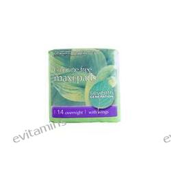 Seventh Generation, Maxi Pads, Chlorine Free, Overnight with Wings, 14 Pads