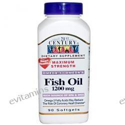 21st Century Health Care, Fish Oil, Maximum Strength, 1200 mg, 90 Softgels