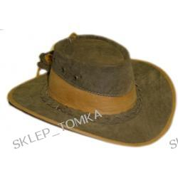 Kapelusz kowbojski oliwkowy nabuk ze wstawką ze skóry licowej