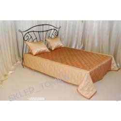 Narzuta satynowa na łóżko 160x200cm falbany z 3 stron, 2 poszewki w komplecie