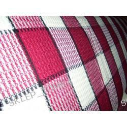 Narzuta tkana 200x220cm krata biały czerwony