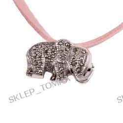 Srebrna zawieszko-broszka słonik z markazytami
