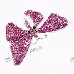 Srebrna broszka motyl wysadzana rubinami
