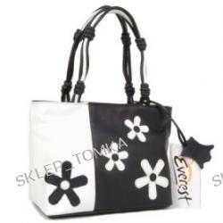 Everest Black and White Leather Handbag