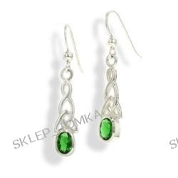 Sterling Silver Celtic Knot and Emerald-Green Glass Gemstone Hook Earrings