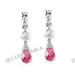 Solid Sterling Silver Cubic Zirconia Rhodium Plated Earring With Pink Crystal