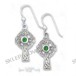 Sterling Silver 1/2 Inch Celtic Cross Earrings 3mm Emerald-Green Glass