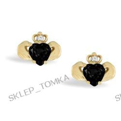 14K Yellow Gold Genuine Heart Black Onyx and Diamond Celtic Claddagh Earrings