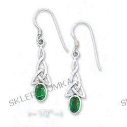 Sterling Silver Celtic With Green CZ French Wire Earrings