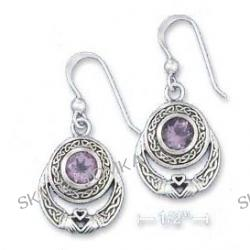 Sterling Silver Celtic Claddaugh Earrings With Amethyst