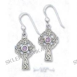Sterling Silver 1/2 Inch Celtic Cross Earrings 3mm Purple Glass