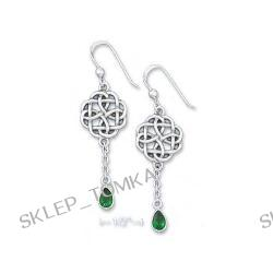 Sterling Silver Celtic Star Earrings 5x7m Emerald-Green Glass Teardrop