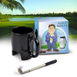 Kubek Szefa Partia golfa przy porannej kawie