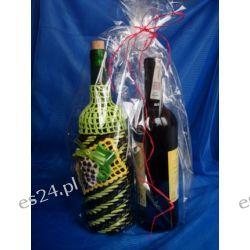 Butelka zdobiona papierową wikliną + Wino