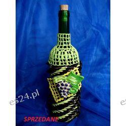 Elegancka butelka na wino zdobiona ręcznie