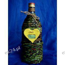 Butelka na oliwę z oliwek pleciona z papieru