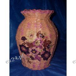 Różowy wazon z papierowej wikliny-duży