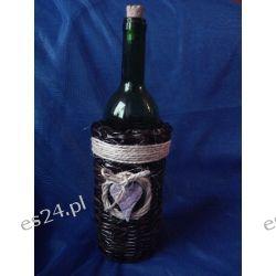 Butelka na nalewkę zdobiona sznurkiem