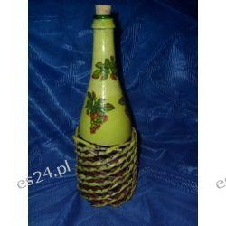 Butelka na nalewkę zdobiona decoupagem i papierową wikliną