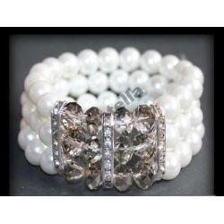 Barnsoletka bransoleta perły swarovski cyrkonie