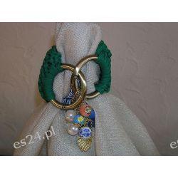 Bransoletka z zielonego sznurka, ręcznie robiona na drutach