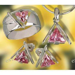 Srebrny komplet z trójkątnymi różowymi cyrkoniami
