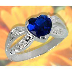 Srebrny pierścionek z szafirowym sercem i cyrkoniami